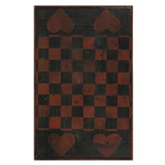 Black And Red Checker Board With 4 Large Red Hearts: