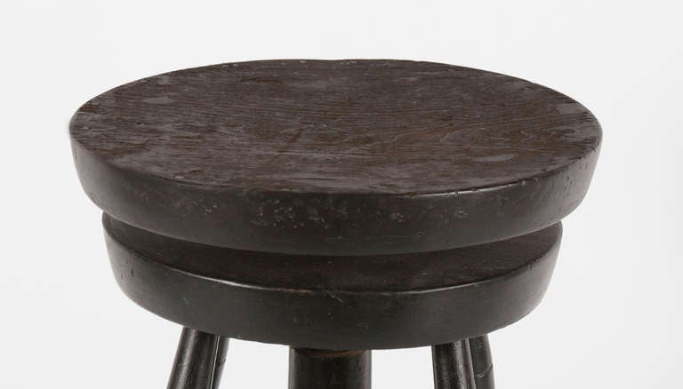 19th Century Rare Swiveling Windsor Stool in Black Paint For Sale