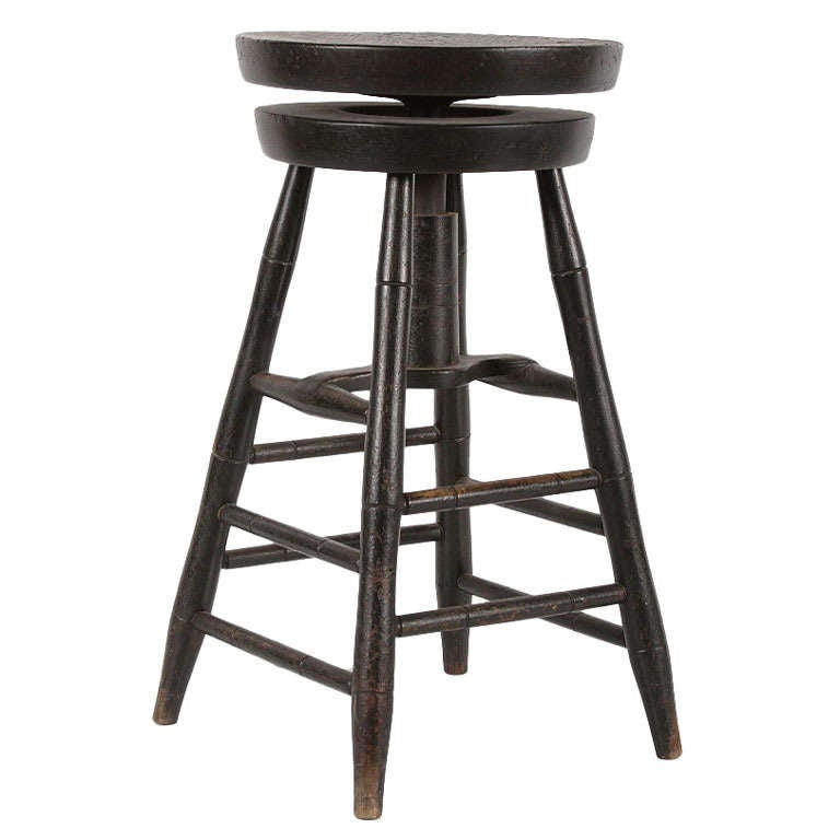 Rare Swiveling Windsor Stool in Black Paint For Sale