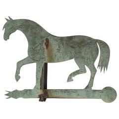 Pferde-Wetterfahne aus Bronzeblech mit Eisenbeschlägen
