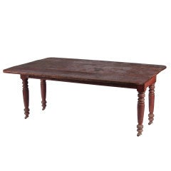 Red Painted American Drop-Leaf Farm Table, Impressive Scale, New York, 1830-1860