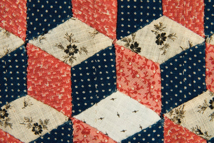 Masterpiece Quality Tumbling Blocks Pattern Doll Quilt At