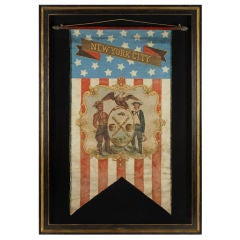 Hand-painted Patriotic Banner With The Seal Of New York City