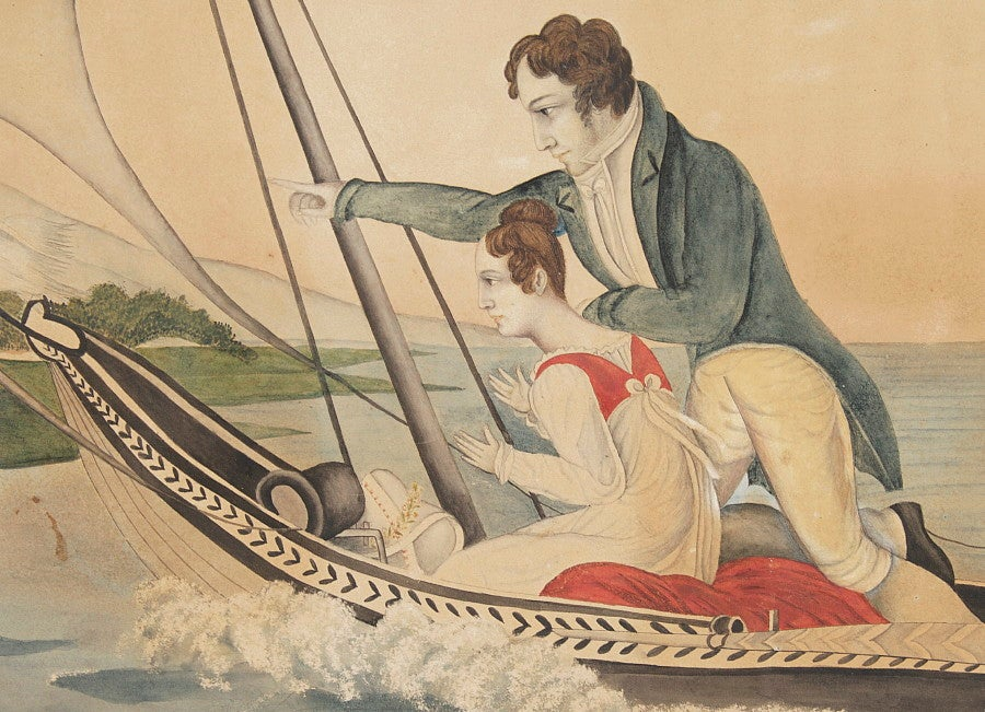 CUPID DIRECTS YOUNG LOVERS TOWARD ETERNITY, AN AMERICAN FOLK WATERCOLOR ON 1817 WATERMARKED PAPER:   With terrific folk style, this Federal period American allegorical watercolor and depicts an ornate sailboat, with a delicate white swan at the bow