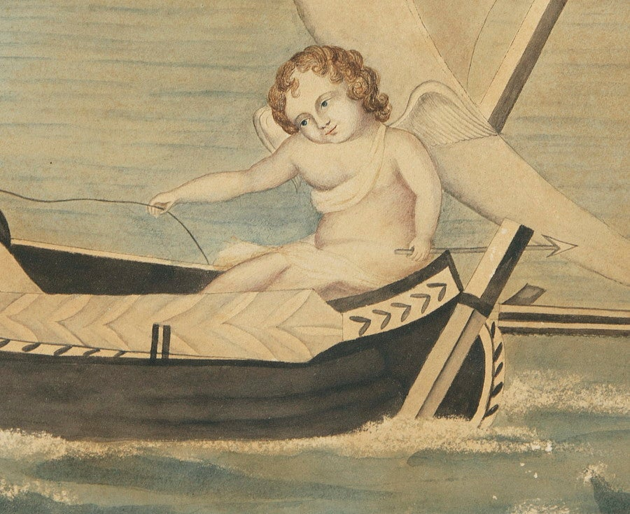 American Cupid Directs Young Lovers Toward Shore, Folk Watercolor, 1817 For Sale
