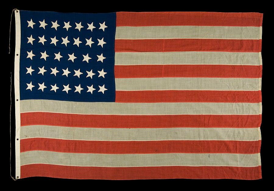 34 Star Flag, Civil War Period, 1861-63, Kansas Statehood ...