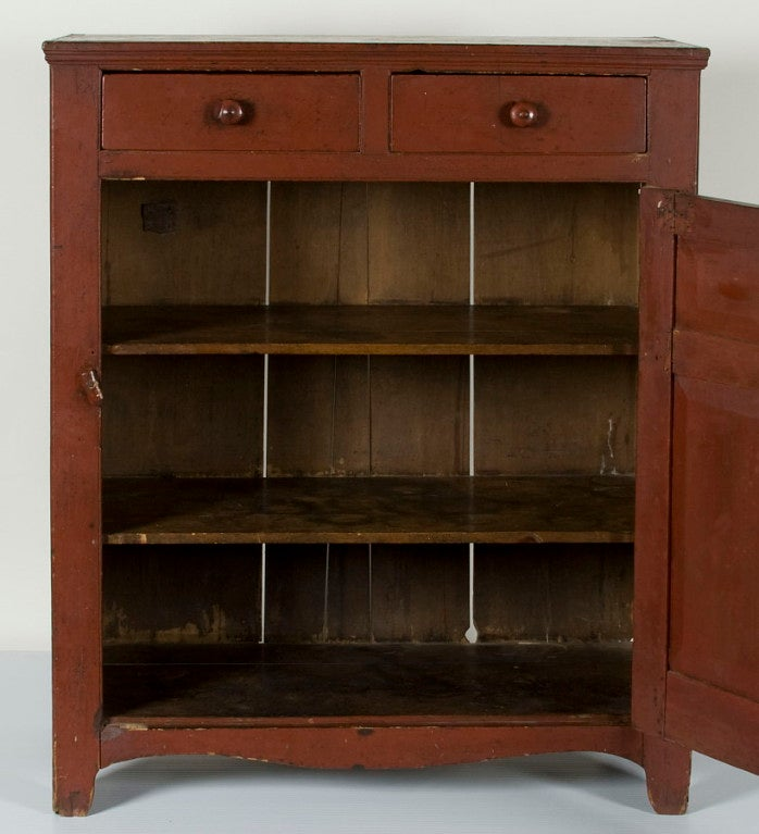 Pennsylvania Jelly Cupboard In Tomato Red Painted Surface 4