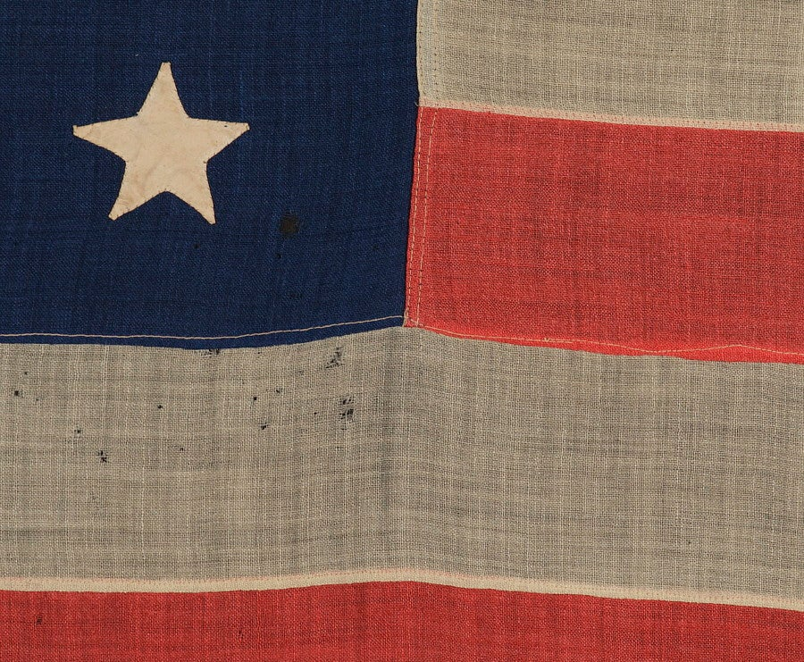 American 38 Hand-Sewn, Single-Appliqued Stars On a Flag For Sale