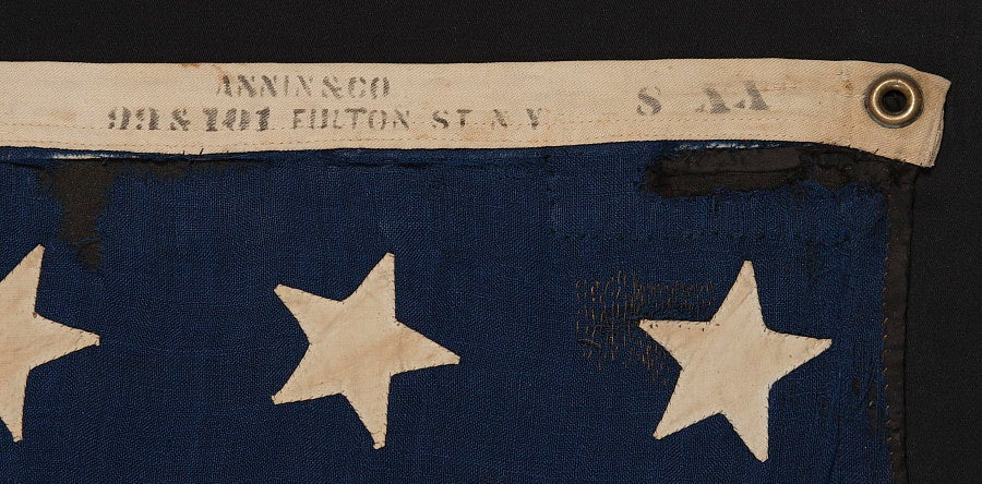 19th Century 38 Hand-Sewn, Single-Appliqued Stars On a Flag For Sale