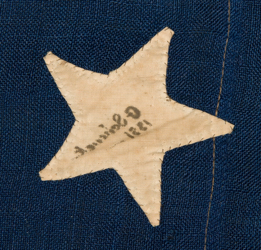 38 Hand-Sewn, Single-Appliqued Stars On a Flag For Sale 1