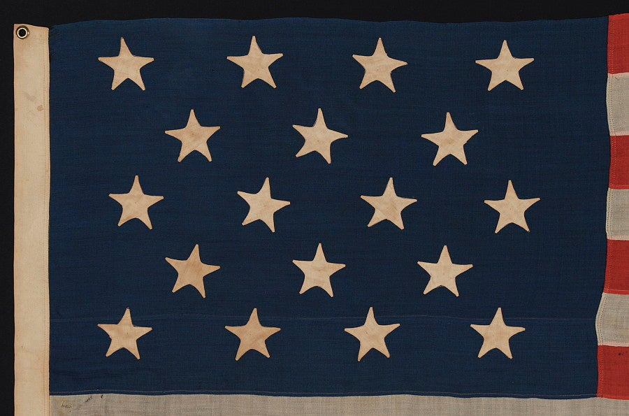 18 STAR AND 13 STRIPES, MADE TO CELEBRATE THE ADMISSION OF LOUISIANA AS THE 18TH STATE, 1876-1892: