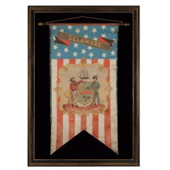 Hand-painted Patriotic Banner With The Seal Of Delaware