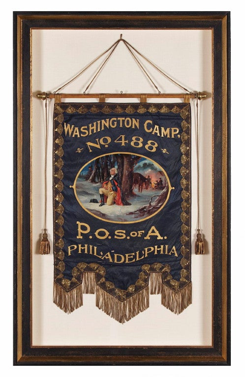 ELABORATE SILK BANNER WITH GILDED TEXT, SPECTACULAR BULLION TRIM, AND A BEAUTIFULLY PAINTED RENDITION OF GEORGE WASHINGTON'S FAMOUS