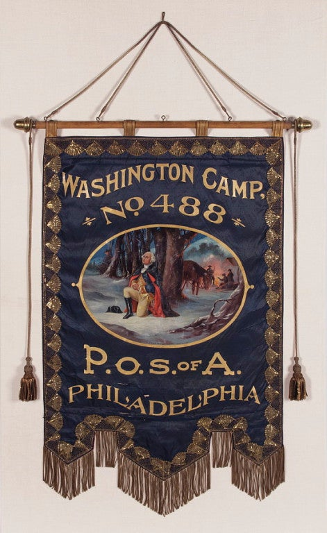 American Elaborate Silk Banner with Gilded Text of George Washington