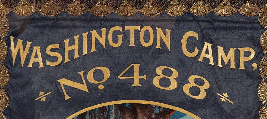 20th Century Elaborate Silk Banner with Gilded Text of George Washington For Sale
