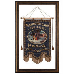 Elaborate Silk Banner with Gilded Text of George Washington