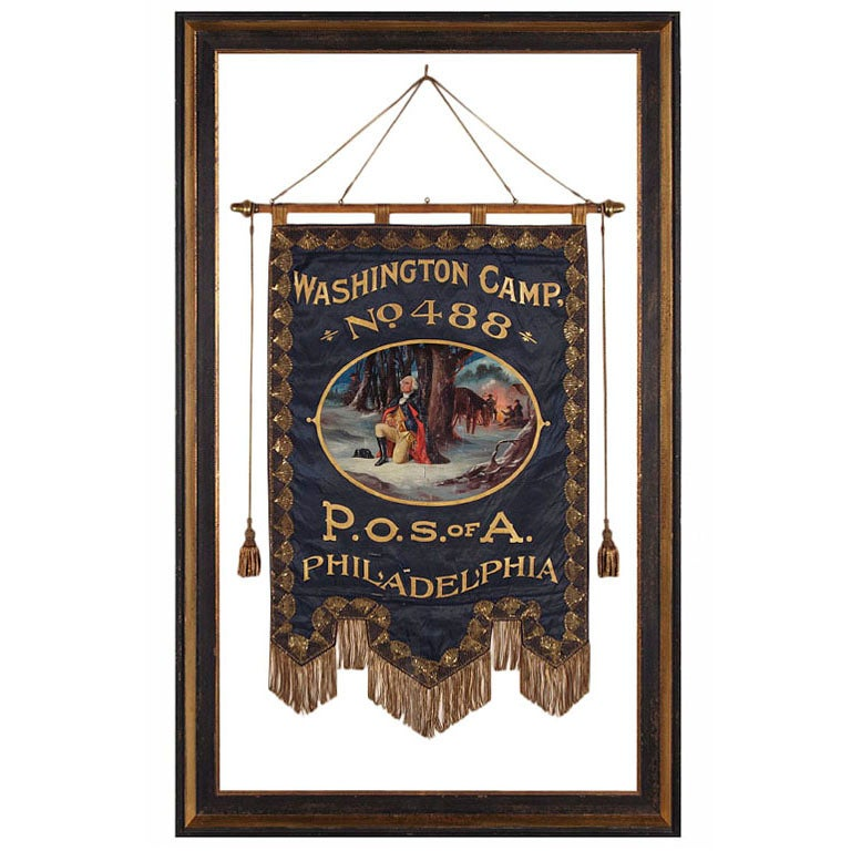 Elaborate Silk Banner with Gilded Text of George Washington For Sale