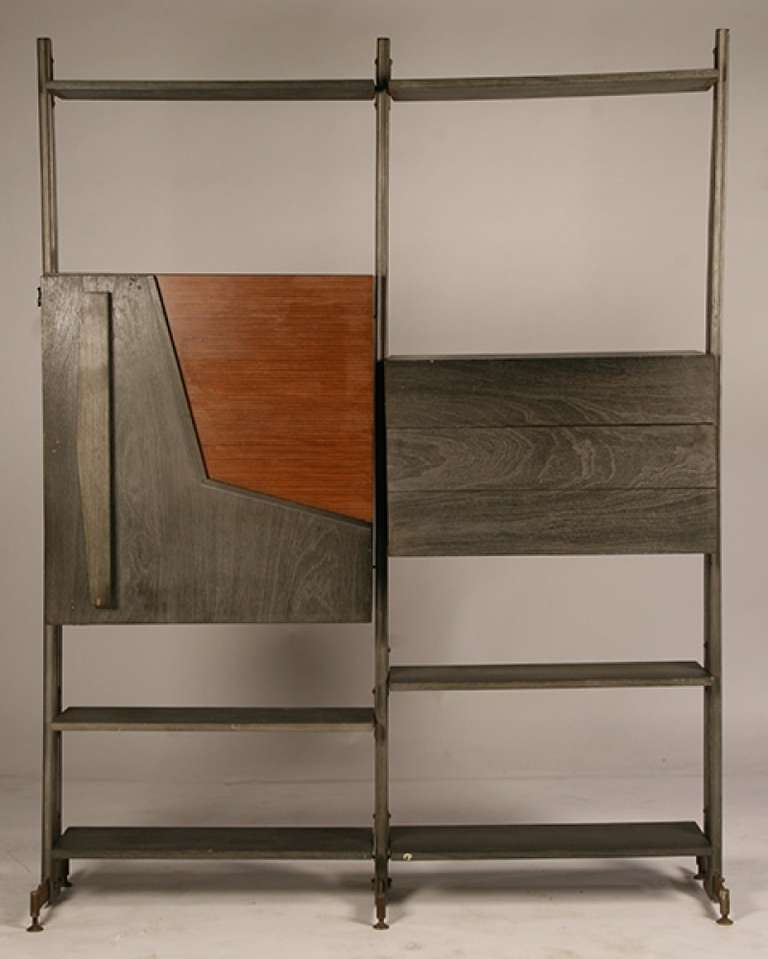 mid century modern modular etagere with bar for sale at. Black Bedroom Furniture Sets. Home Design Ideas