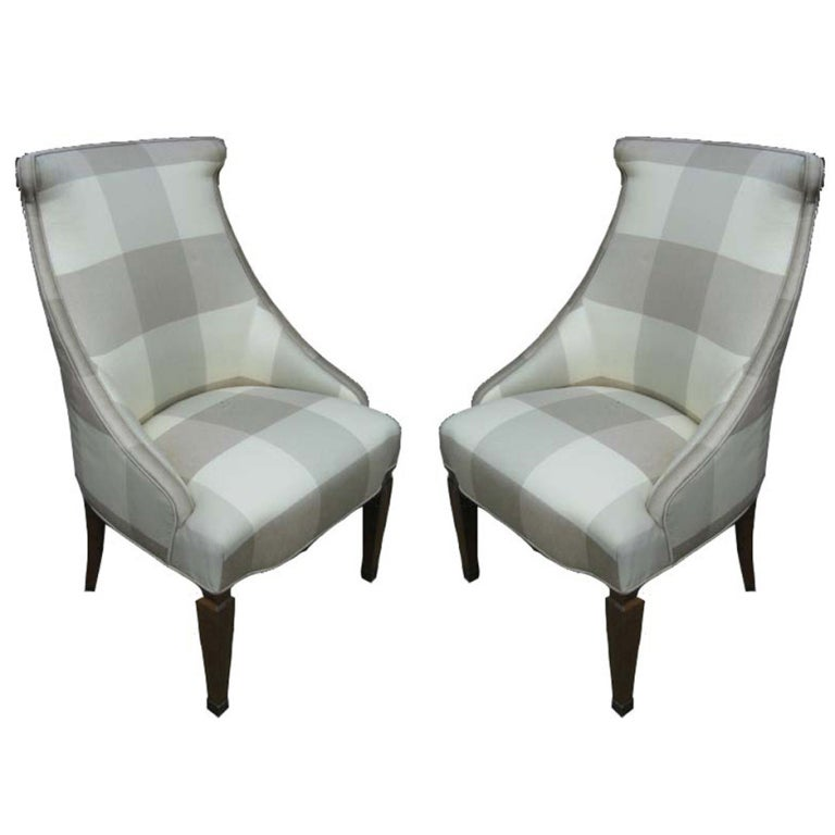 Pair of upholstered dining chairs with custom finish at for Printed upholstered dining chairs
