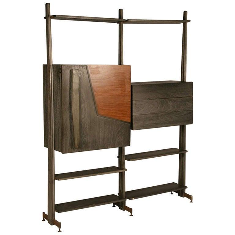 mid century modern modular etagere with bar at 1stdibs. Black Bedroom Furniture Sets. Home Design Ideas