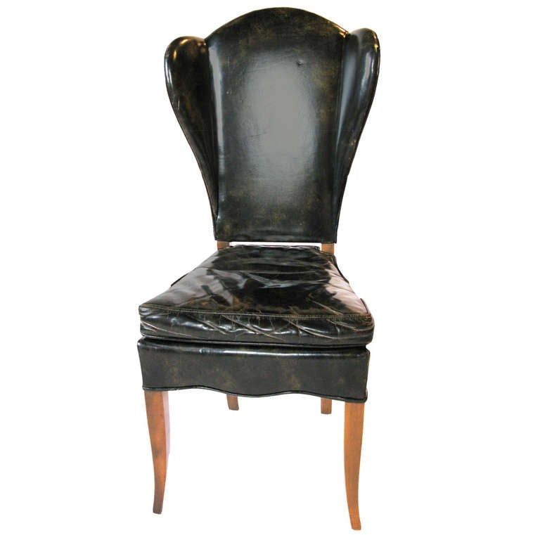Pair of Black Leather Wingback Chairs at 1stdibs