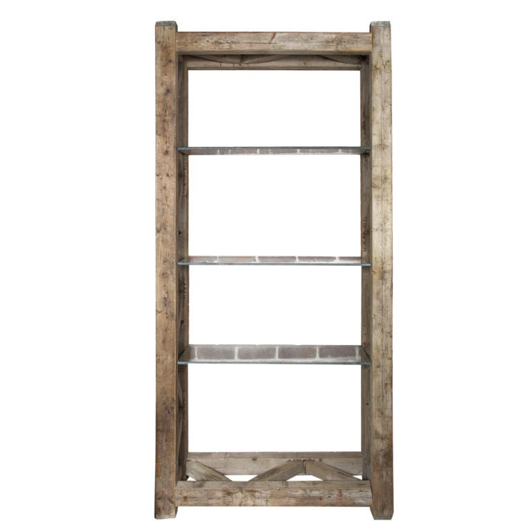 Rustic Wood and Glass Bookcase at 1stdibs