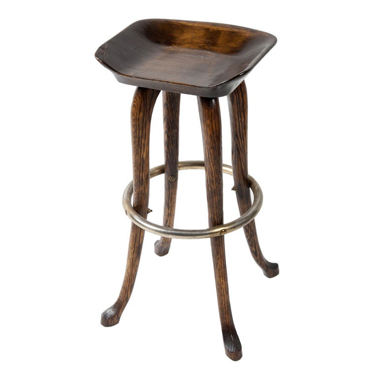 Carved Wood Bar Stool At 1stdibs