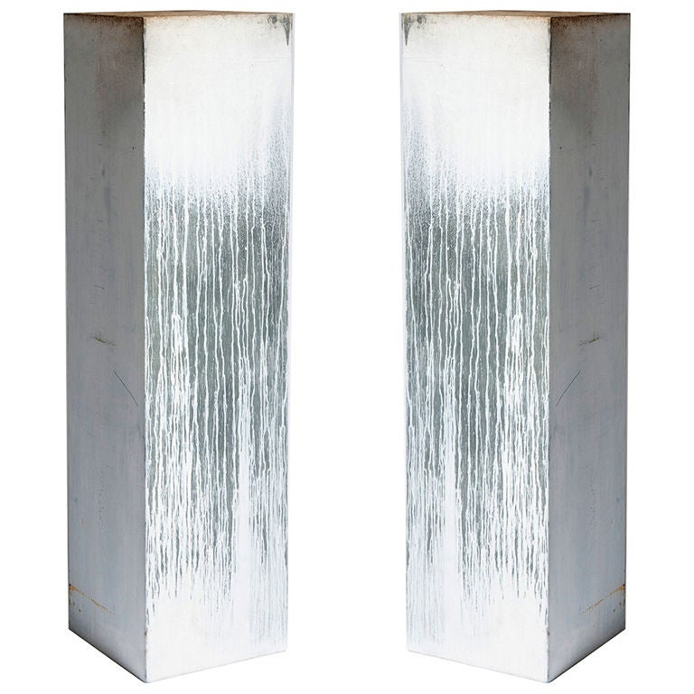 White Metal Pillars : Pair of decorative metal pillars at stdibs
