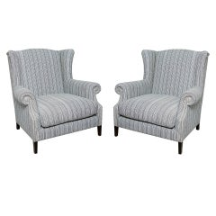 Pair of Large Studded Wingback Arm Chairs