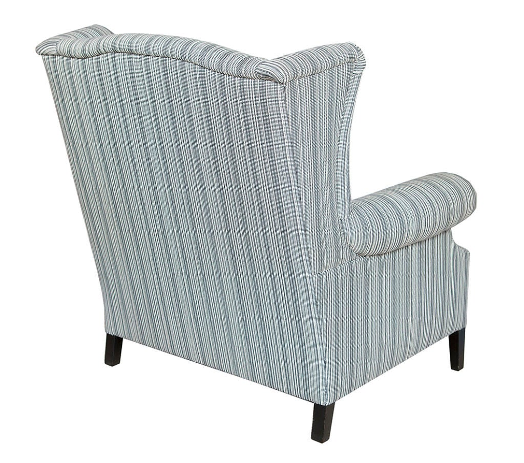 Pair of large studded wingback arm chairs at stdibs