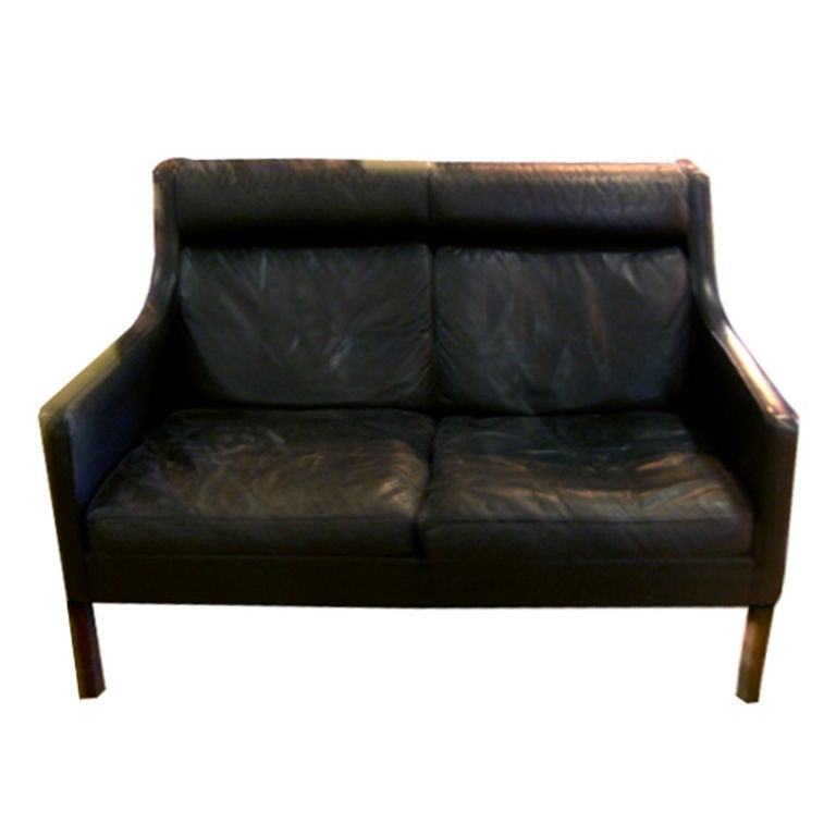 Scandinavian Black Leather Love Seat Sofa From Mid Century