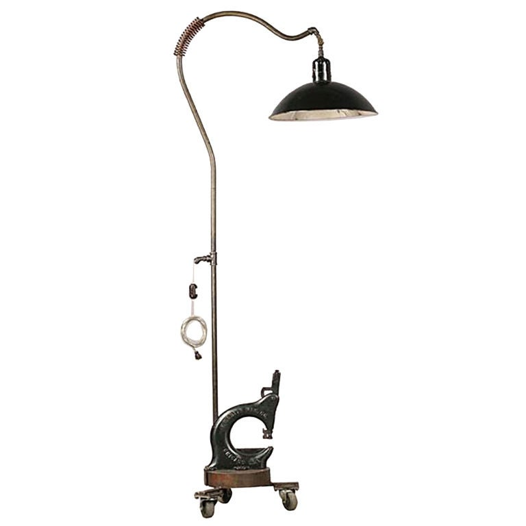 Industrial floor lamp with metal shade at 1stdibs for Floor lamp with wire shade