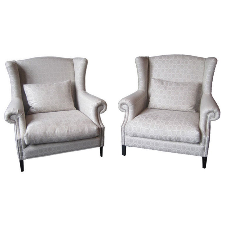 White Pattern Wing Back Chair at 1stdibs
