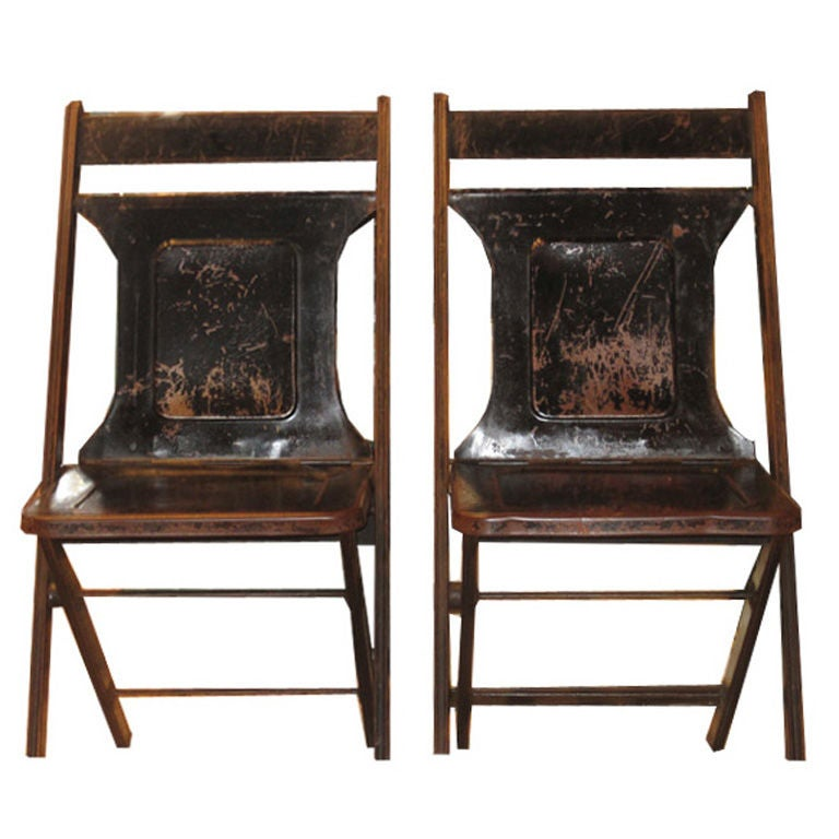 Steel Folding Chairs at 1stdibs