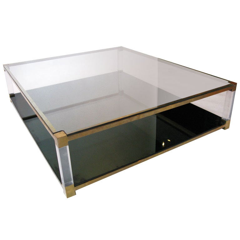 Oversized Brass And Lucite Coffee Table At 1stdibs