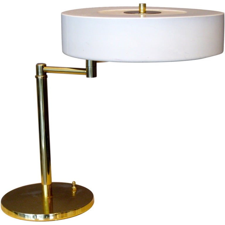 Walter Von Nessen Swing Arm Table Lamp With Metal Shade At