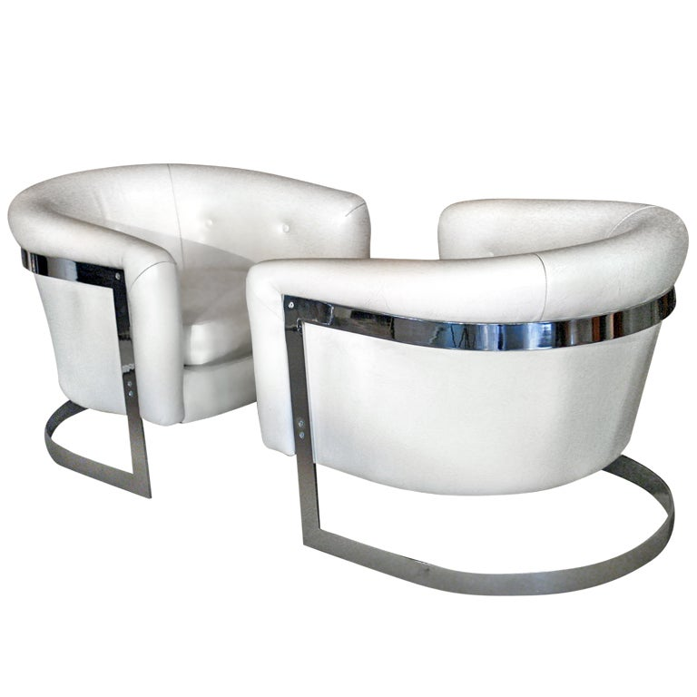 Pair Milo Baughman Chrome Steel Cantilevered Lounge Chairs
