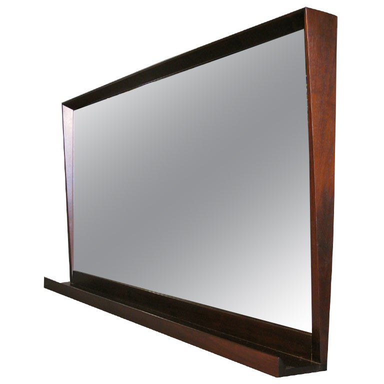 Large Architectural Walnut Wall Mirror With Shelf C1960s