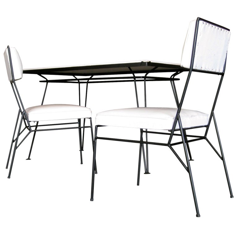 salterini wrought iron and milk glass dining table w two chairs at 1stdibs. Black Bedroom Furniture Sets. Home Design Ideas