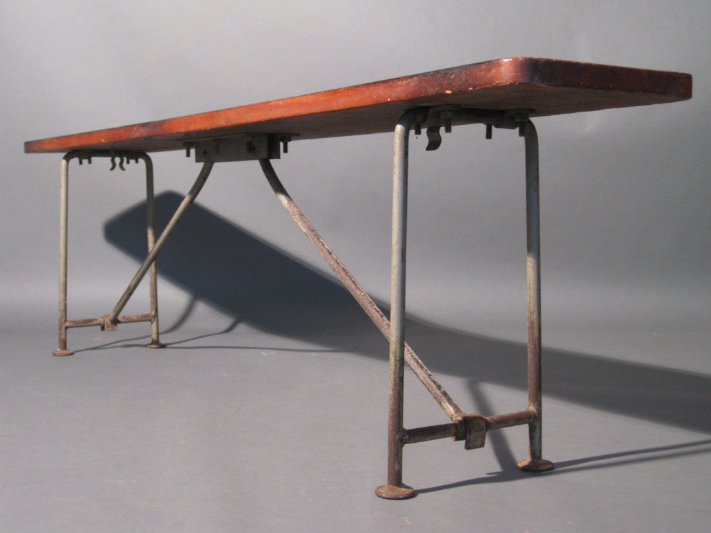 1920s Gymnasium Bench W Cast Iron Folding Legs At 1stdibs