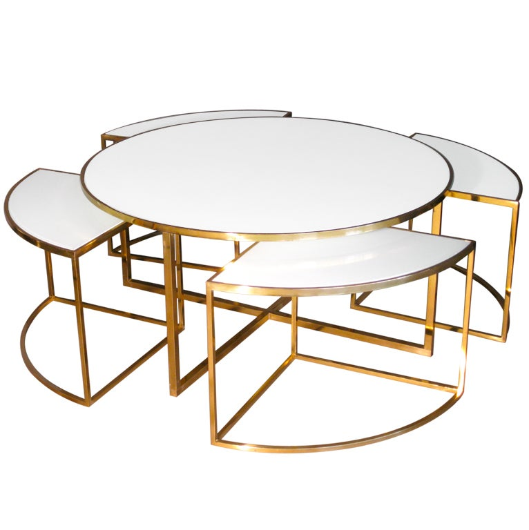 Brass and glass coffee table w four nesting tables set c for Glass nesting coffee tables