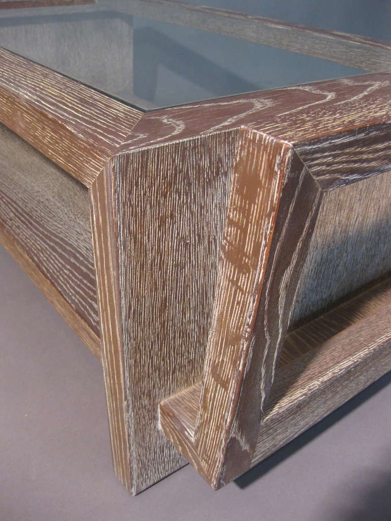 Exceptional James Mont Cerused Oak And Glass Coffee Table Signed At 1stdibs