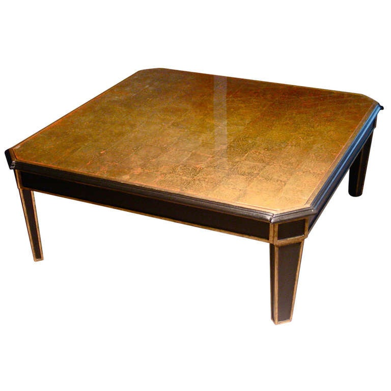 1940s Maison Jansen Verre Eglomise And Gilt Wood Octagonal Coffee Table Signed At 1stdibs