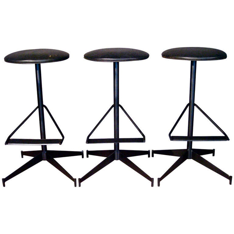 Set Of Three Steel And Wrought Iron Bar Stools Circa