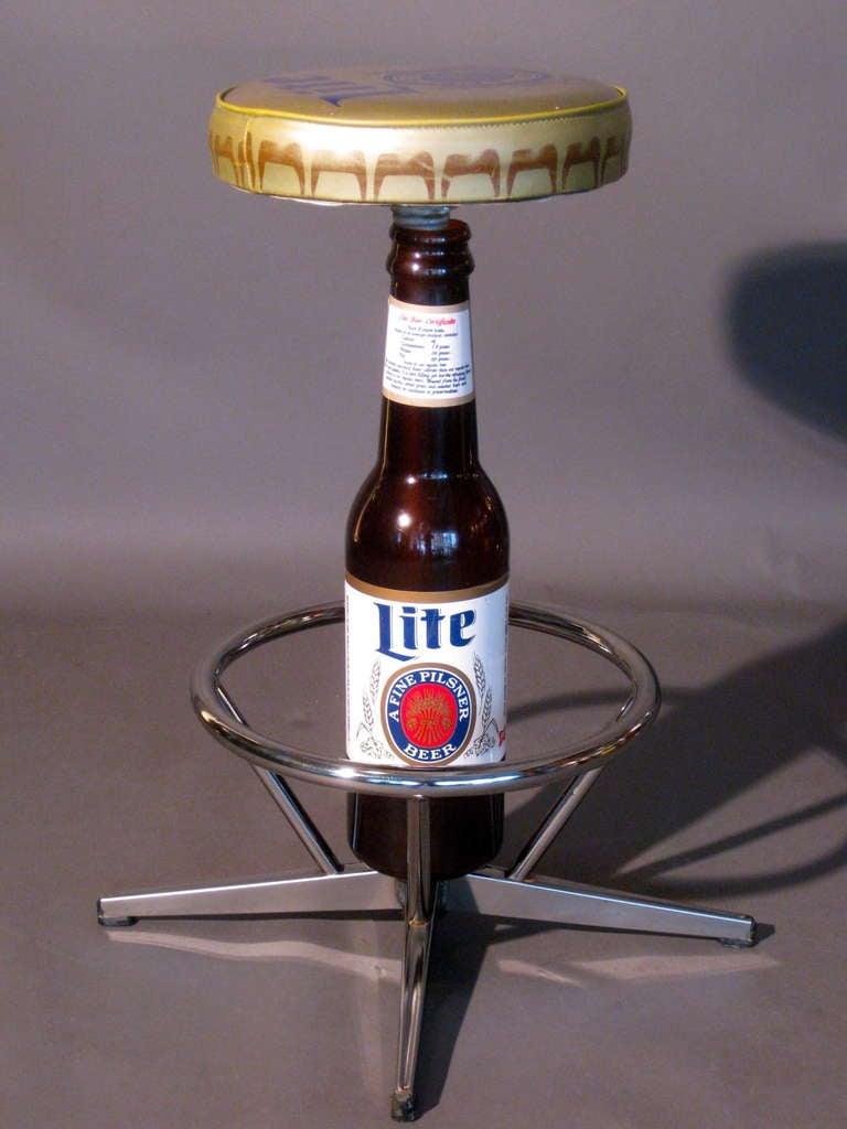 Pilsner Lite Beer Promotional Swiveling Bar Stool C 1960s