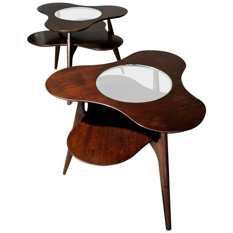 60 Mid Century Modern Vintage Half Moon Coffee Table: Pair Of Erno Fabry Biomorphic Tripod Side Tables At 1stdibs