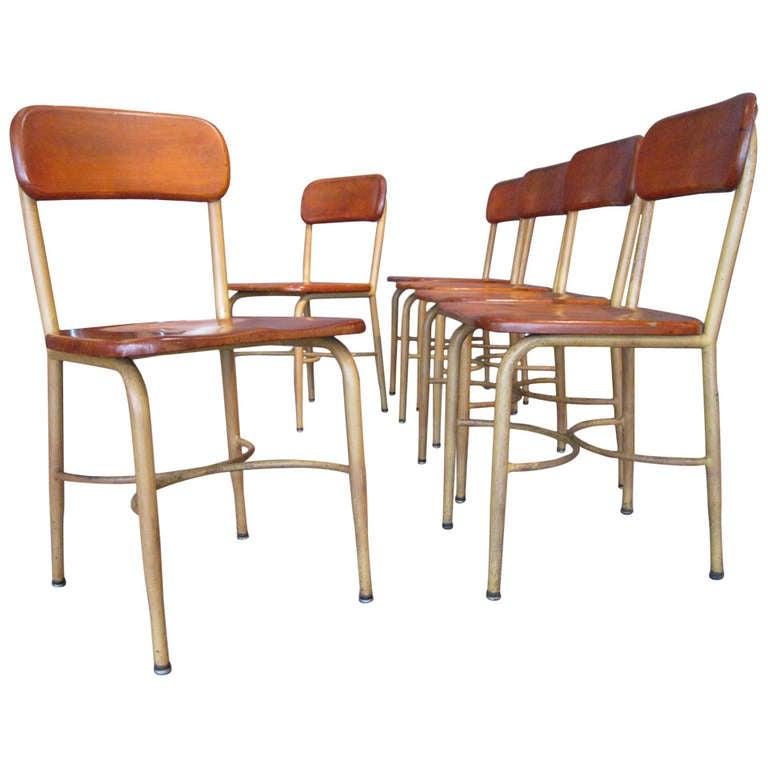 Set Of Six Industrial School Chairs By Heywood Wakefield C
