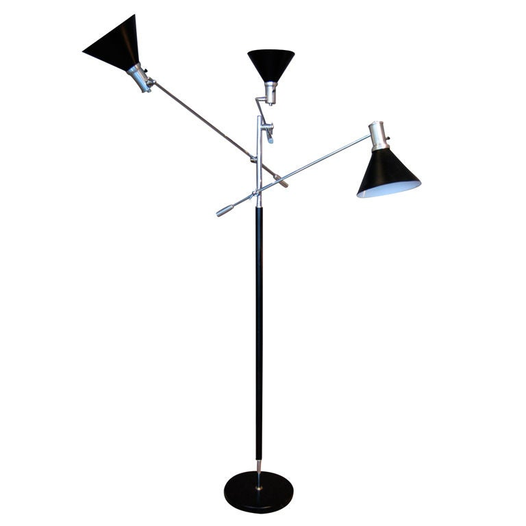 1960 39 s three arm adjustable floor lamp at 1stdibs. Black Bedroom Furniture Sets. Home Design Ideas