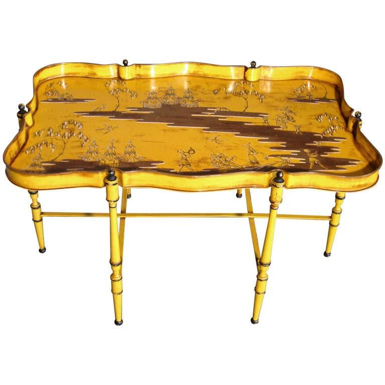 Hand Painted Chinoiserie Low Tray Table Made In Italy C