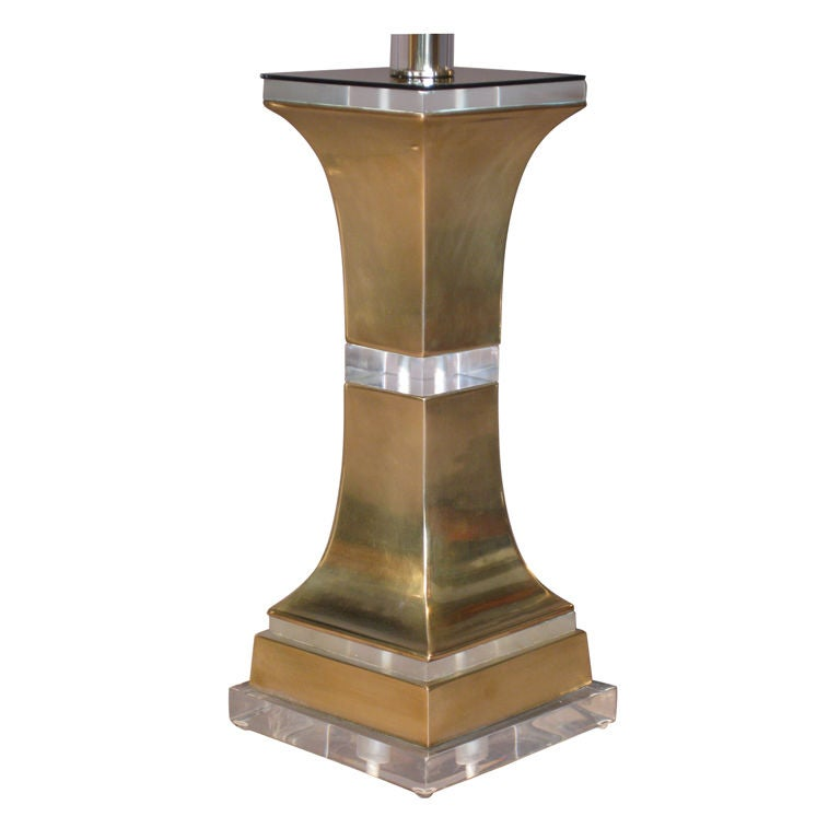 1970 39 s solid brass and lucite table lamp at 1stdibs. Black Bedroom Furniture Sets. Home Design Ideas
